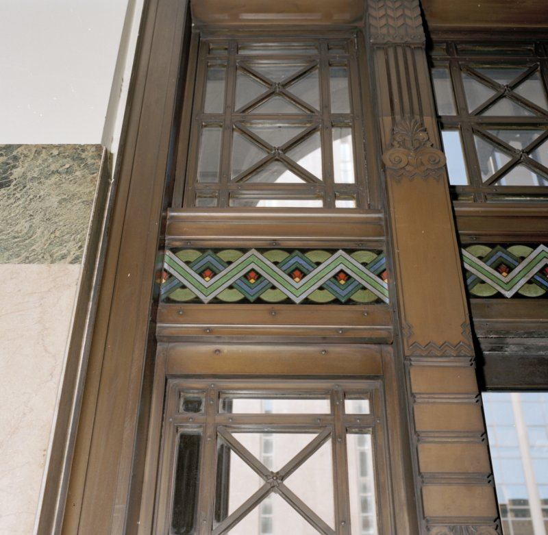 Interior. Detail of entrance hall glazed screen