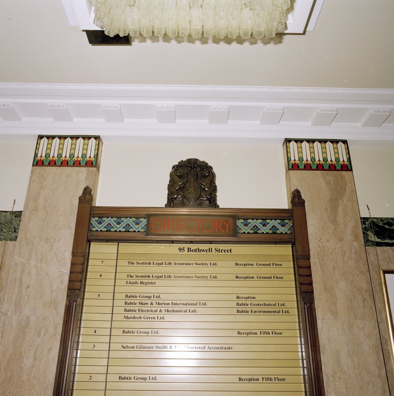 Interior. Detail of main directory board