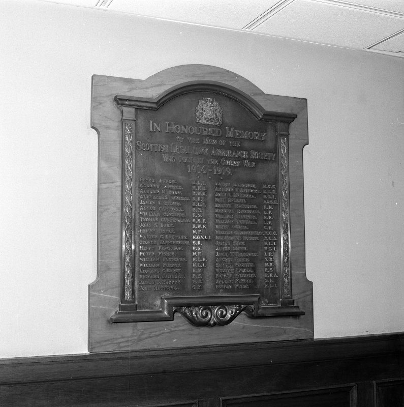 Interior. 7th floor Detail of WWI war memorial plaque