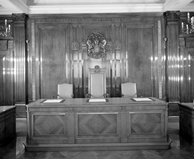Interior. 7th floor Board room Detail of desk and crest