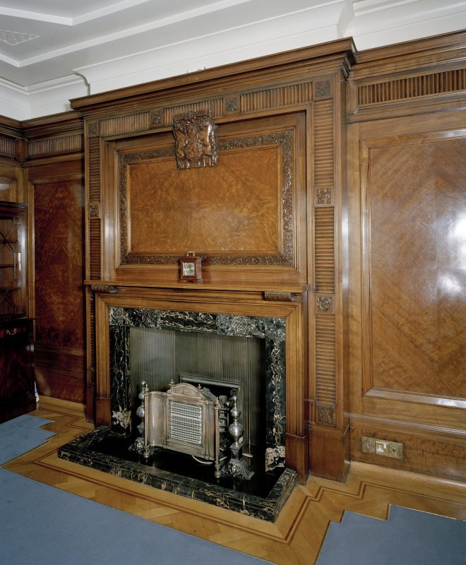 Interior. 7th floor Detail of committee room fireplace