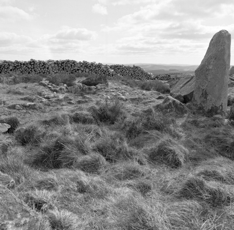 The expanded cairn NNE of the recumbent setting looking E