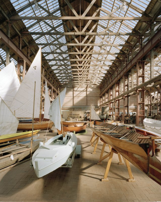 Interior. View from W, with boat exhibits in foreground