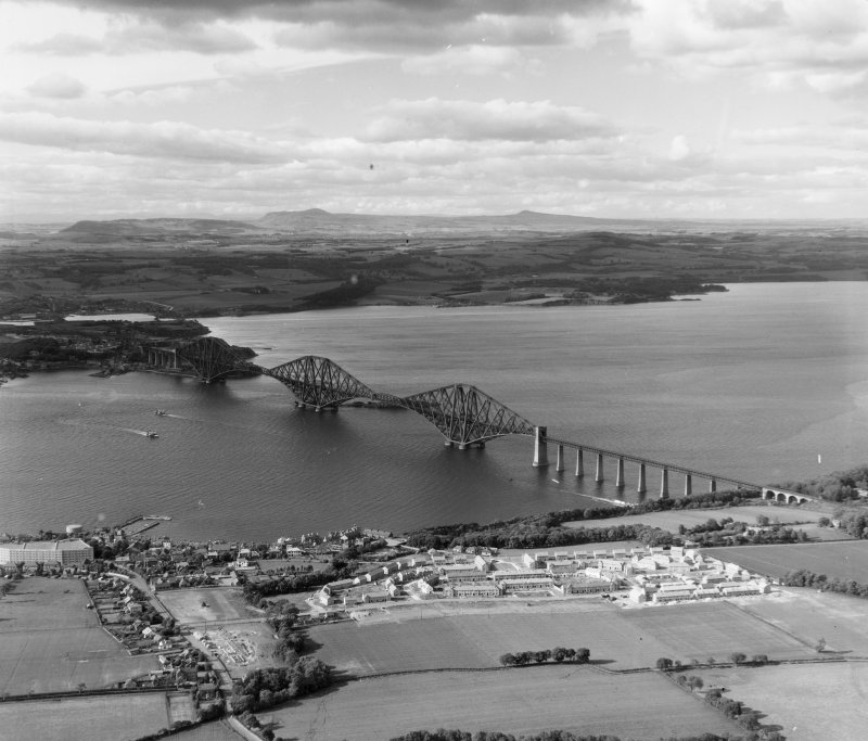Forth Bridge Dalmeny, West Lothian, Scotland. Oblique aerial photograph taken facing North/East.