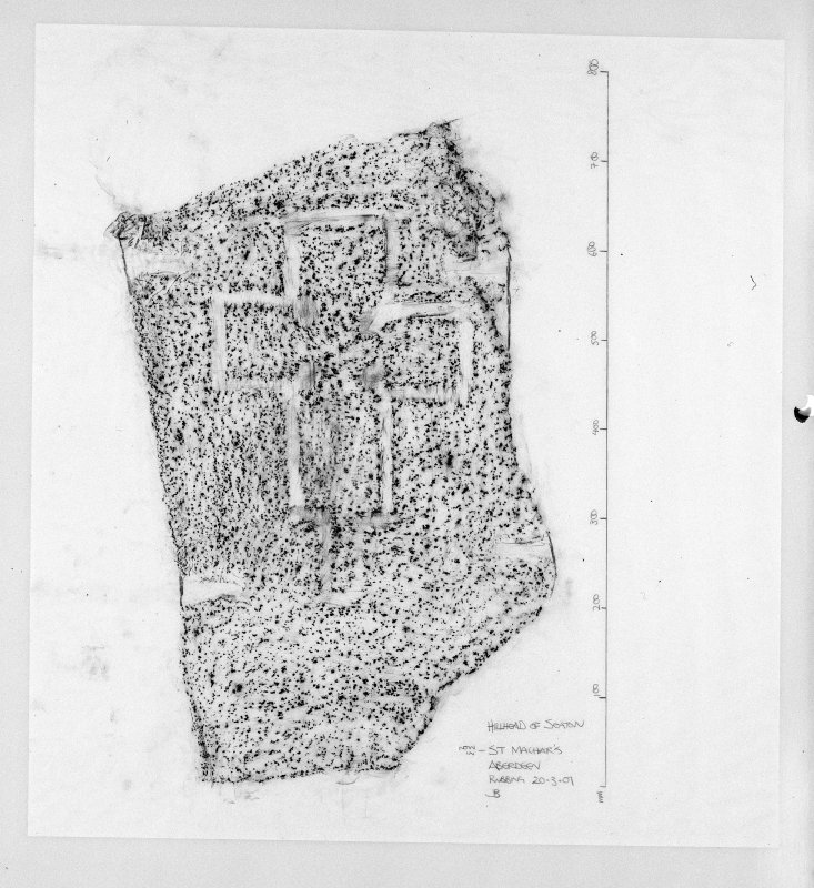 Photographic copy of rubbing of cross-incised stone.
