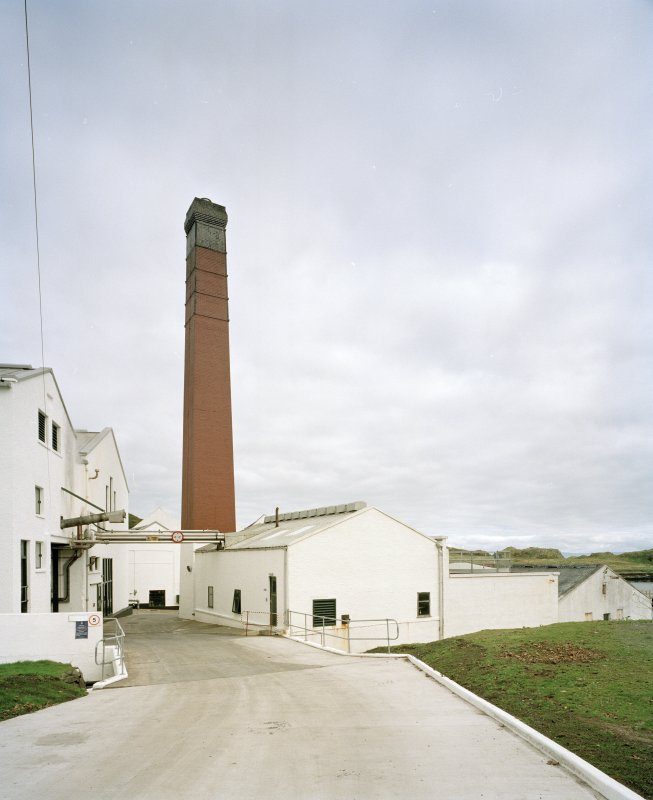 Lagavulin Distillery View from NW showing boilerhouse and associated square-section red-brick chimney