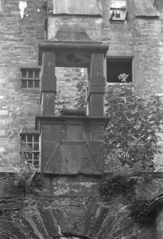 Castle Menzies. Detail of belfry and inscription at back entrance.