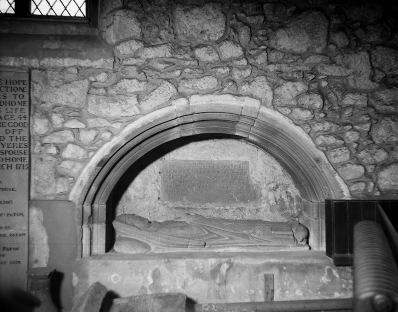 Aberdeen, Chanonry, St Machar's Cathedral, Interior. General view of wall tomb at West end of North aisle.