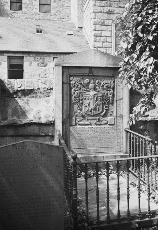 Aberdeen, Union Street, East Church of St Nicholas Grave Yard General view of armorial tombstone and cast iron enclosure.