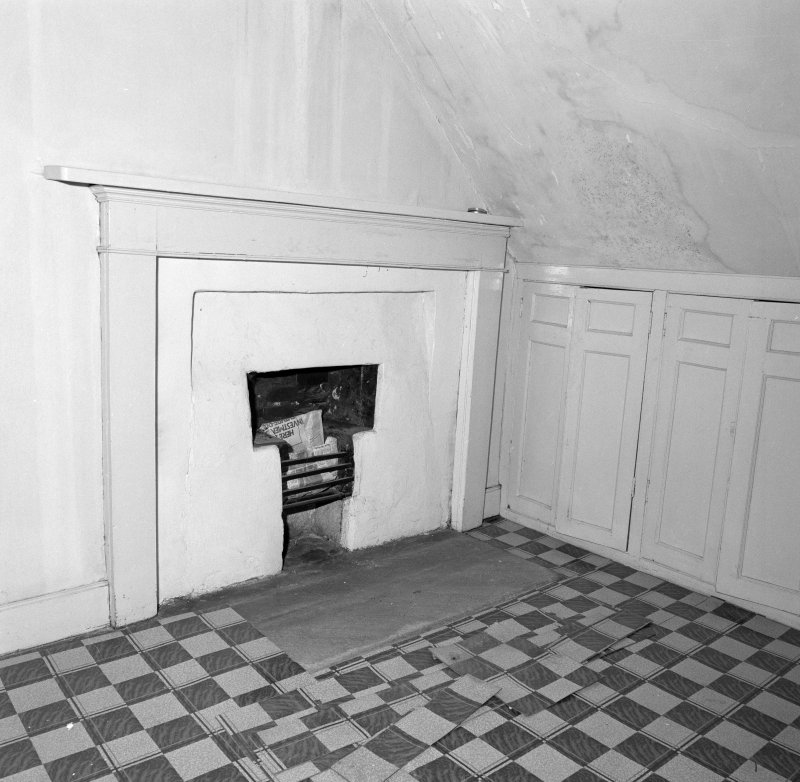 Attic, ironing room, fireplace, detail