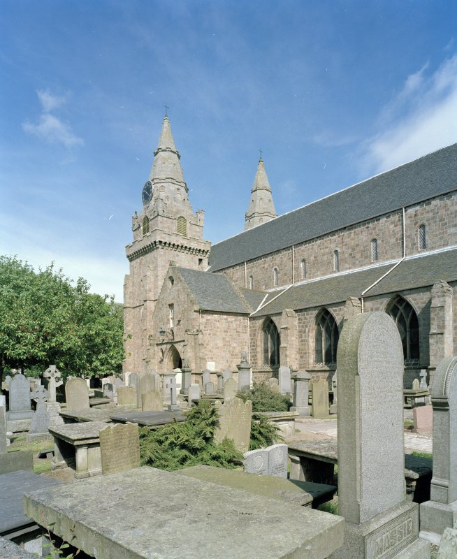 Aberdeen, Chanonry, St Machar's Cathedral. General view from south east showing twin towers and entrance porch.