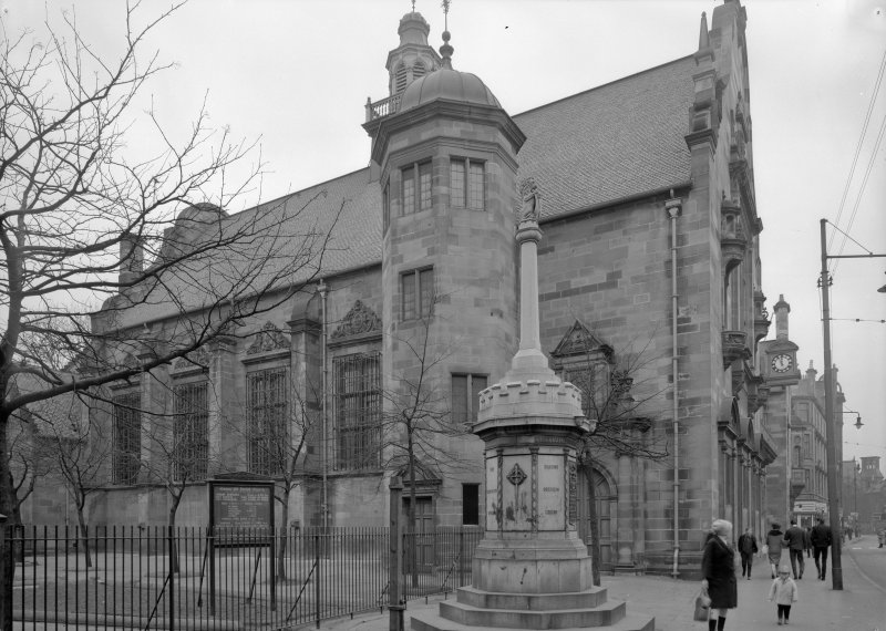 Glasgow, 840 Govan Road,  Pearce Institute General view from North West including War Memorial and railings of Govan Old Parish Church.