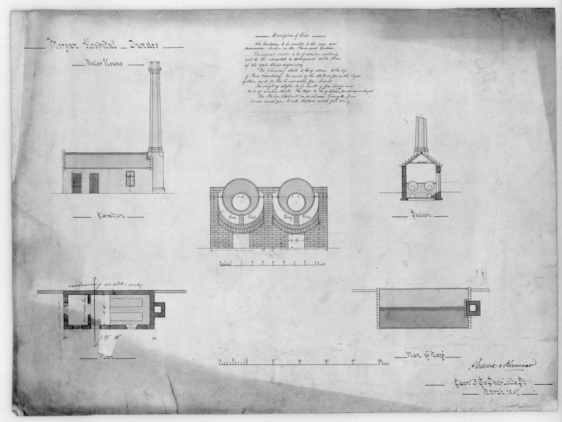 Photographic copy of plans, sections and elevations of boiler house, including details of boilers.
