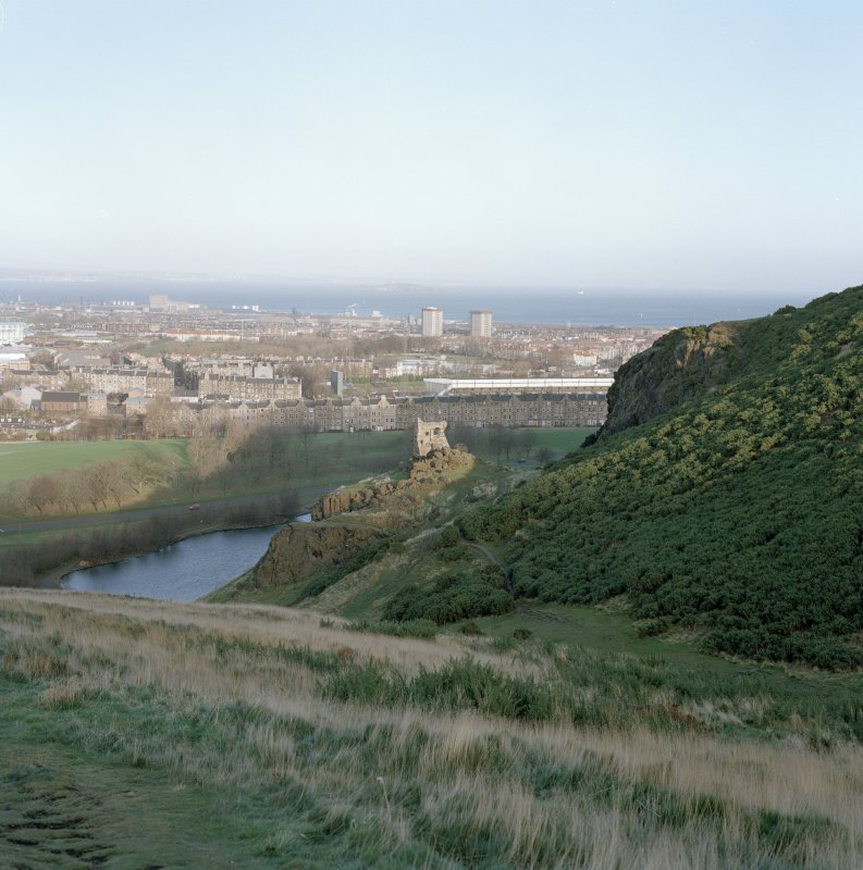 Holyrood Park: view of St Anthony's Chapel and Hermitage from SW. Background view of North Edinburgh, Leith and Inchkeith