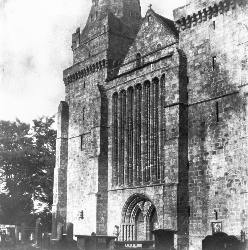 Aberdeen, St. Machar's Cathedral and Churchyard. Copy of historic photograph showing view of West front and seven-light Gothic window.