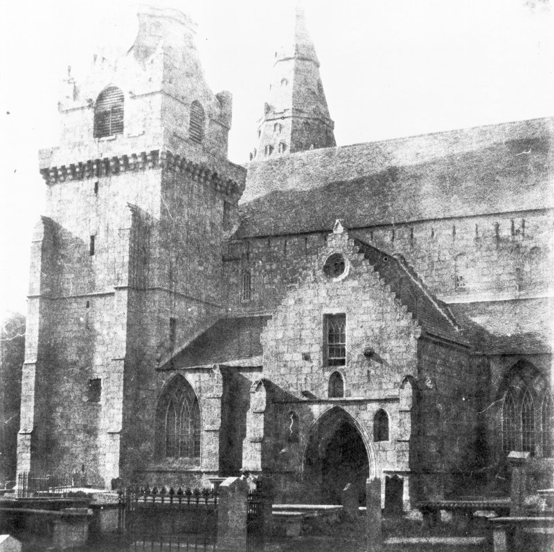 Aberdeen, St. Machar's Cathedral. Copy of historic photograph showing view of South face of Cathedral and South porch.