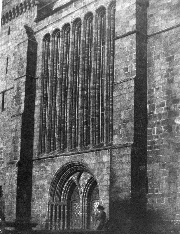 Aberdeen, St. Machar's Cathedral. Photographic copy of drawing showing view of West front showing the West door and seven light Gothic window.