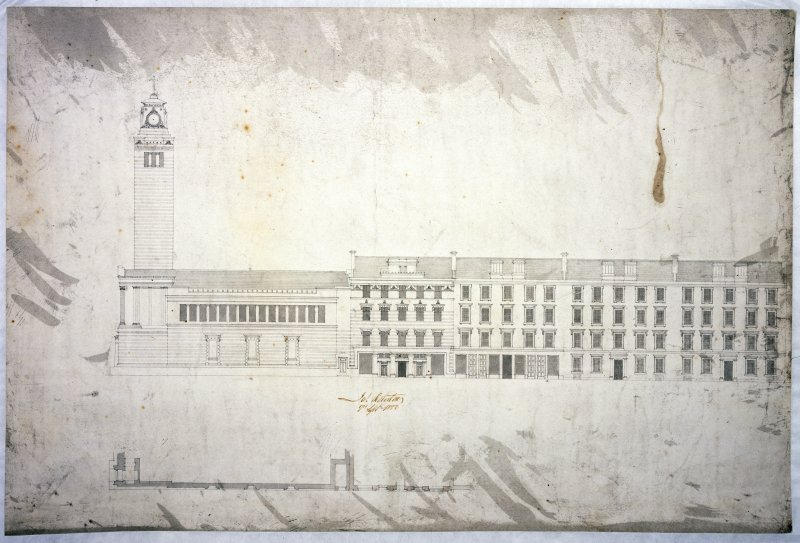 Elevation drawing, as built, with the adjacent tenements in Hospital Street: a contract drawing signed by the client for Thomson's tenement block, James Robertson, 7 September 1876.
