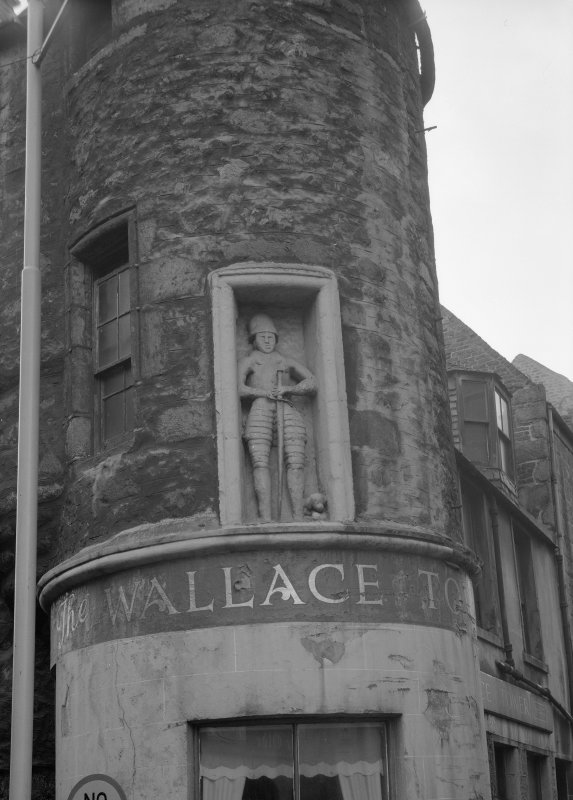 Detail of statue on E tower, Wallace Tower (Benholm's Tower), Netherkirkgate, Aberdeen.