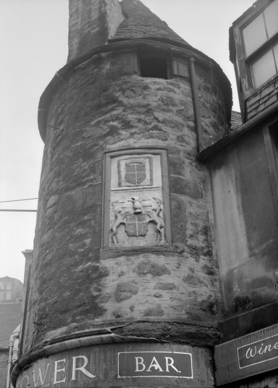 View of armorial panel on E tower of Wallace Tower (Benholm's Tower), Netherkirkgate, Aberdeen.