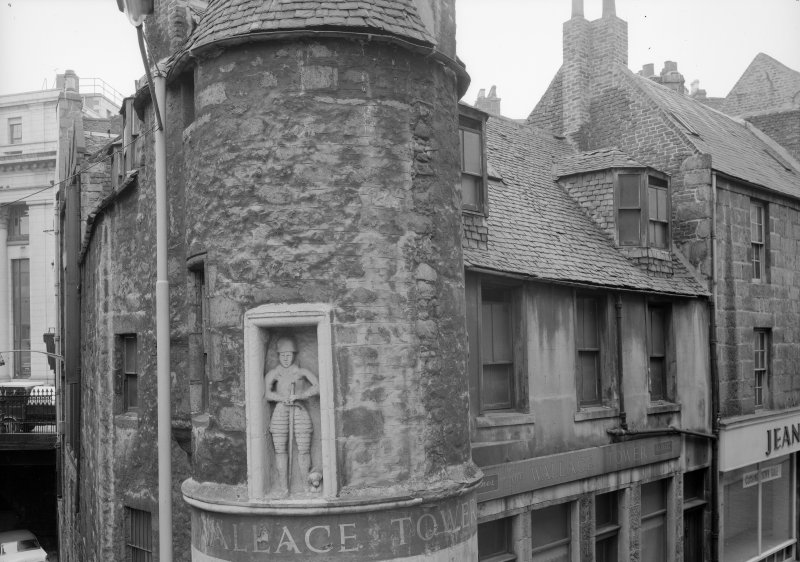 Elevated view of Wallace Tower (Benholm's Tower), Netherkirkgate, Aberdeen, from NE.
