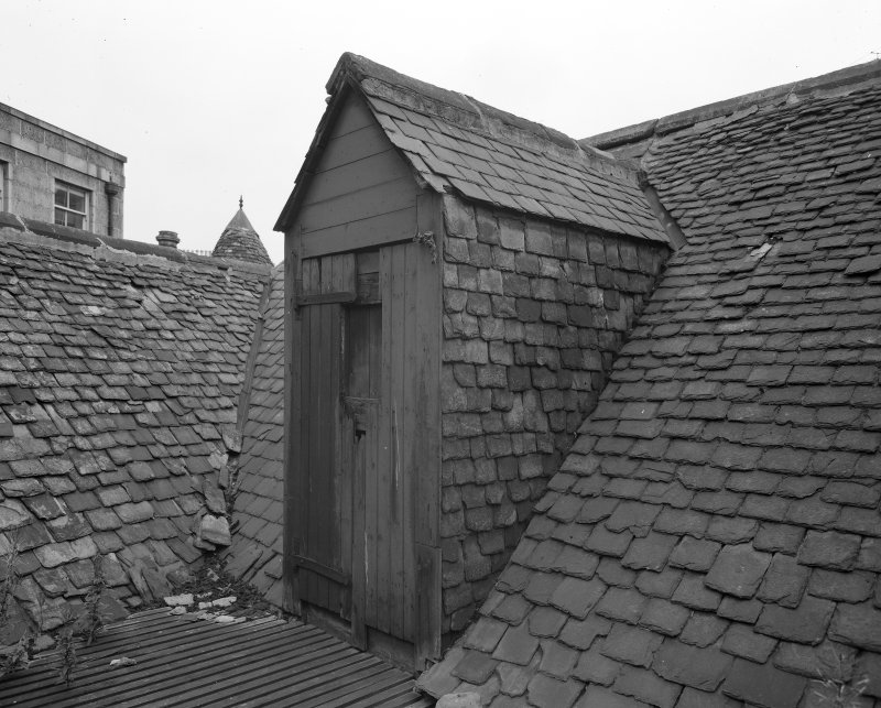 View of access door to roof, Wallace Tower (Benholm's Tower), Netherkirkgate, Aberdeen.