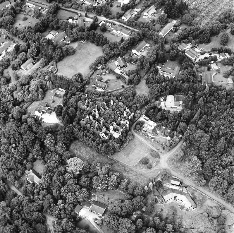 Oblique aerial view centred on the remains of the country house, taken from the S.