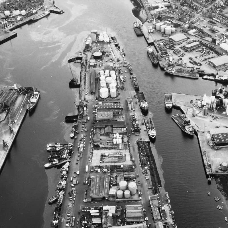 Aberdeen, Harbour. General oblique aerial view.