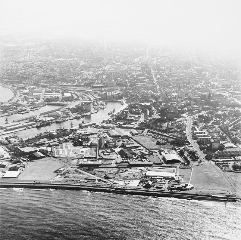 Aberdeen Harbour, oblique aerial view, taken from the NW.