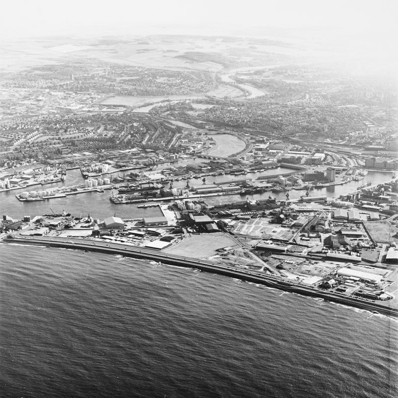 Aberdeen Harbour, oblique aerial view, taken from the N.