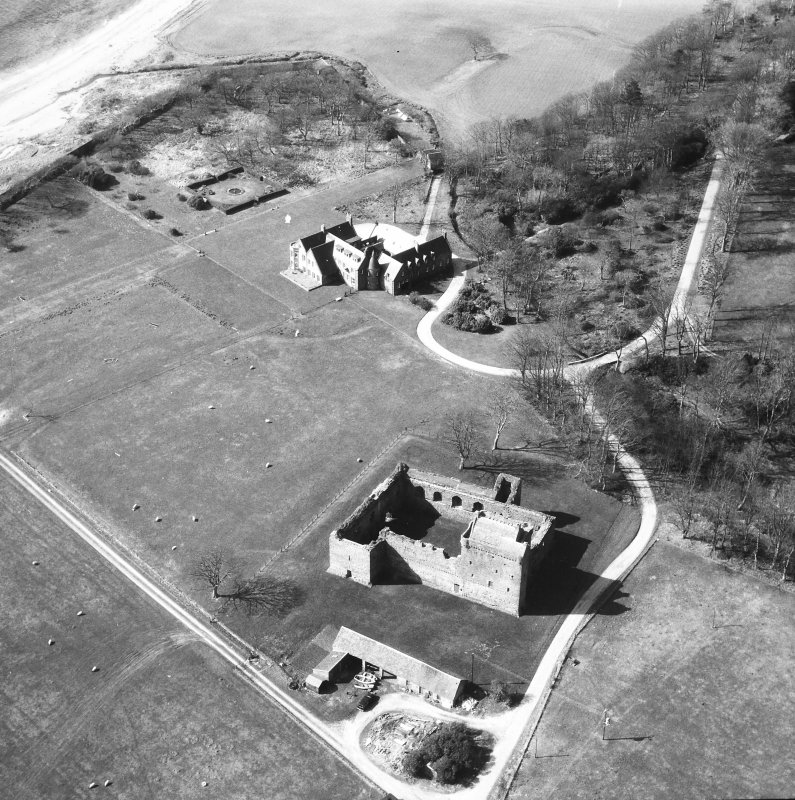 Aerial view of Skipness House and Skipness Castle.