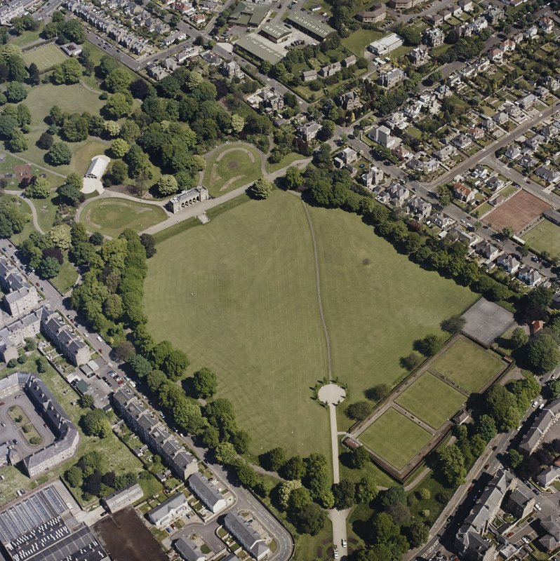 Oblique aerial view centred on the park and pavilion, taken from the SSW.