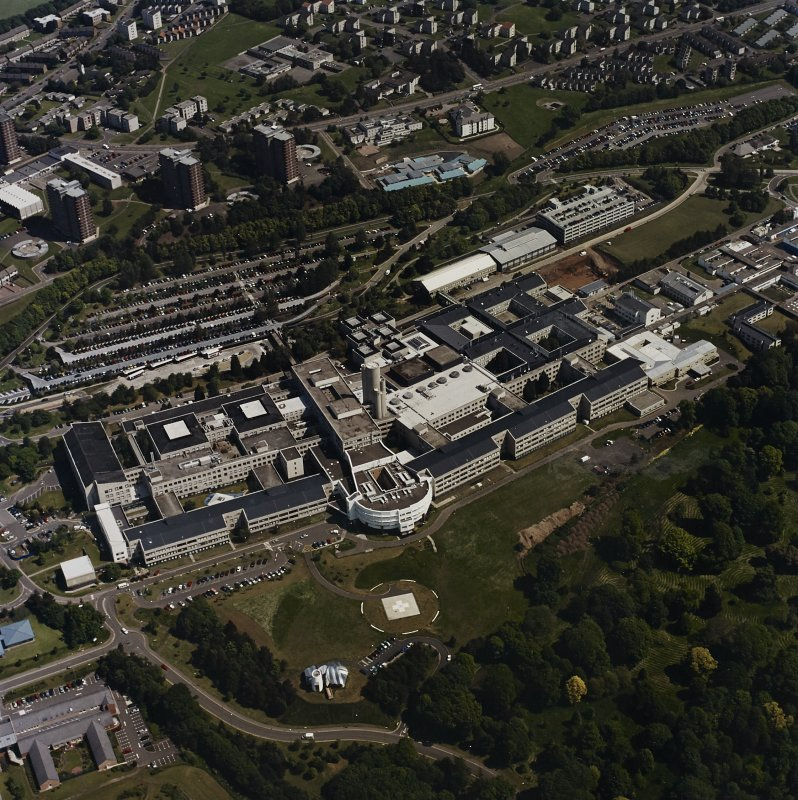 Oblique aerial view centred on the hospital, taken from the SW.