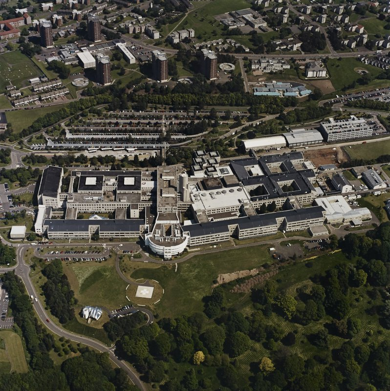 Oblique aerial view centred on the hospital, taken from the SSW.