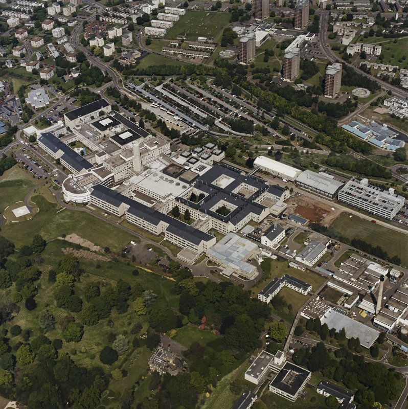 Oblique aerial view centred on the hospital, taken from the SSE.