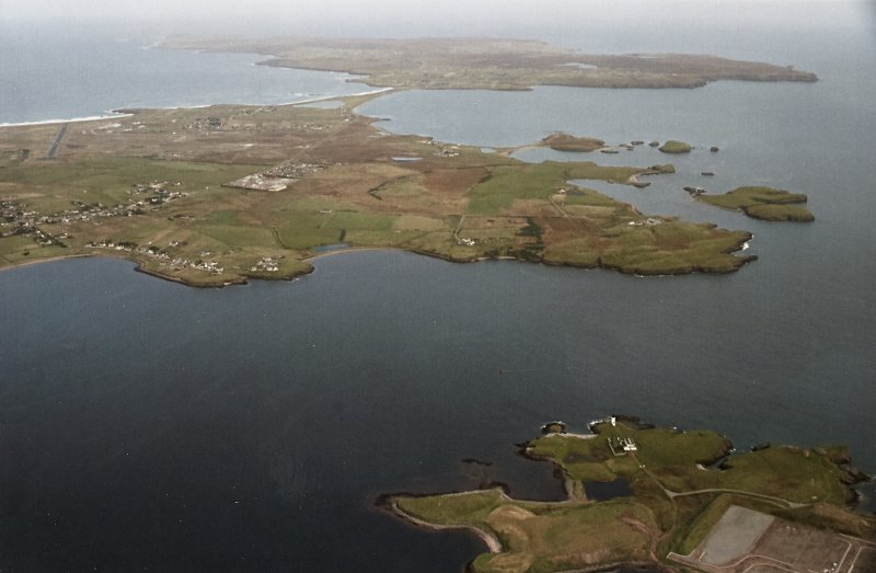 General oblique aerial view looking across the township towards the Eye Peninsula, taken from the SW.
