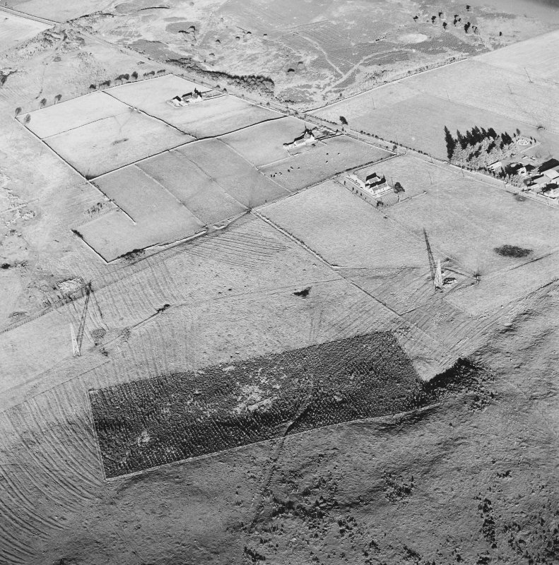 Oblique aerial view of Redhill centred on the remains of rig, with trackway adjacent.  Taken from the SW.