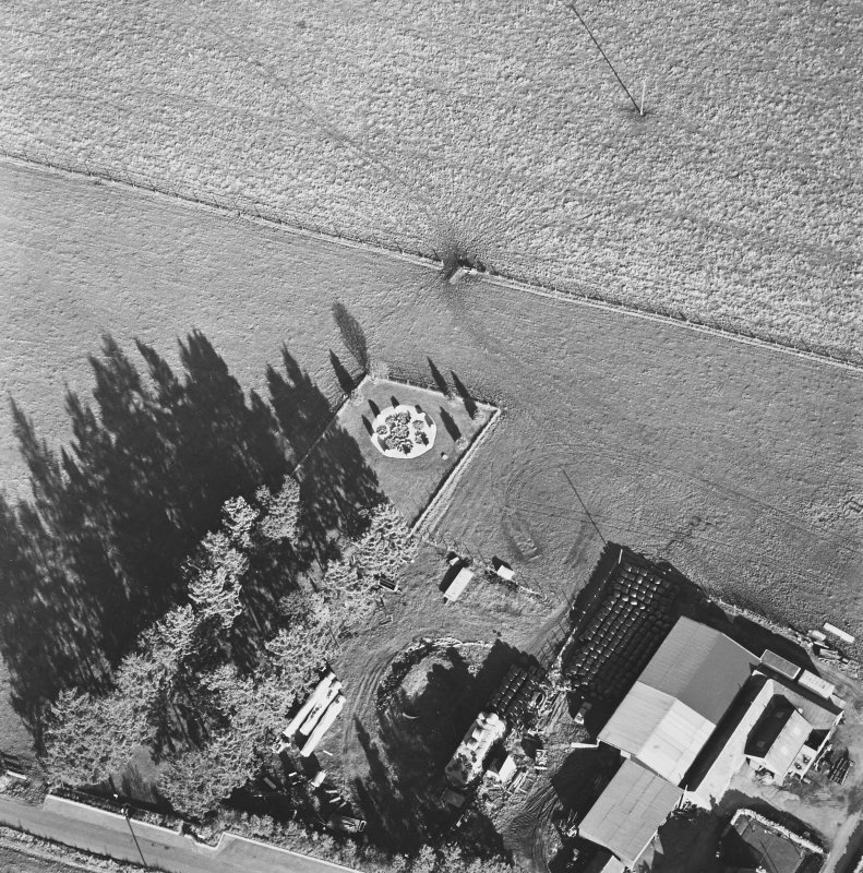 Oblique aerial view of Cullerlie centred on the remains of a stone circle, taken from the SW.
