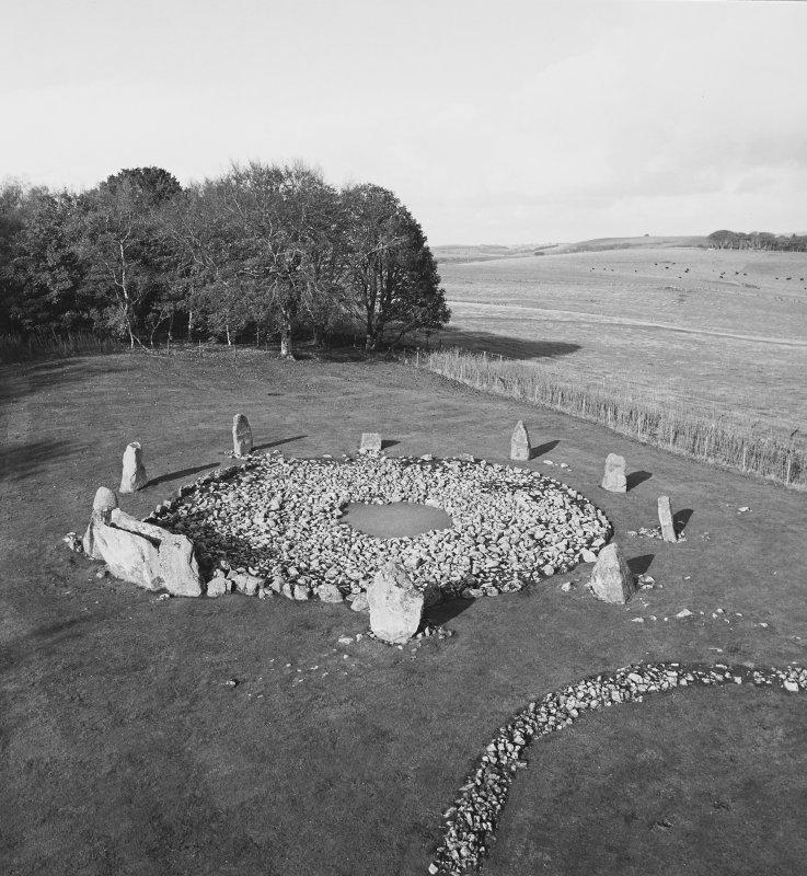 Hi-spy view of recumbent stone circle looking N.