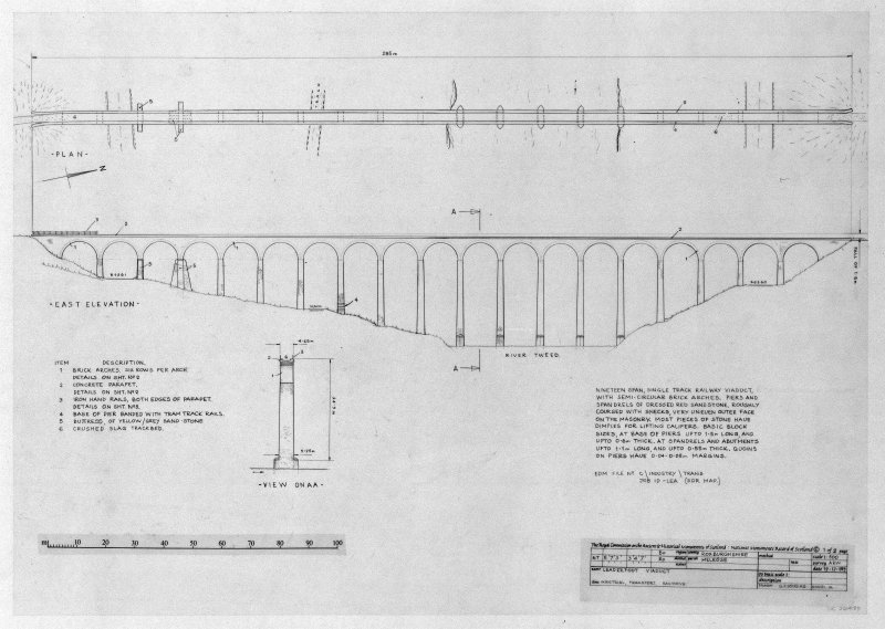 Photographic copy of plan, East Elevation with item list and brief description d:'9/12/1989'