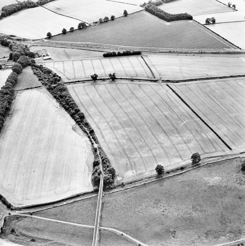 Oblique aerial view of Newstead centred on the cropmarks of the eastern annexe, enclosure and Roman temporary camps with Roman fort adjacent, taken from the NNE.