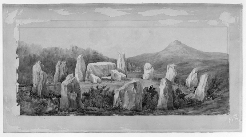 Photographic copy of watercolour view of Easter Aquhorthies stone circle by Lady Sophia Dunbar, 1870.