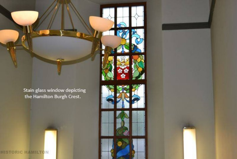 This is the fantastic Stain Glass window located in the grand staircase of the Hamilton Library. The beautiful stained-glass window depicting the Hamilton Burgh crest. Picture courtesy of Garry McCallum - Historic Hamilton.