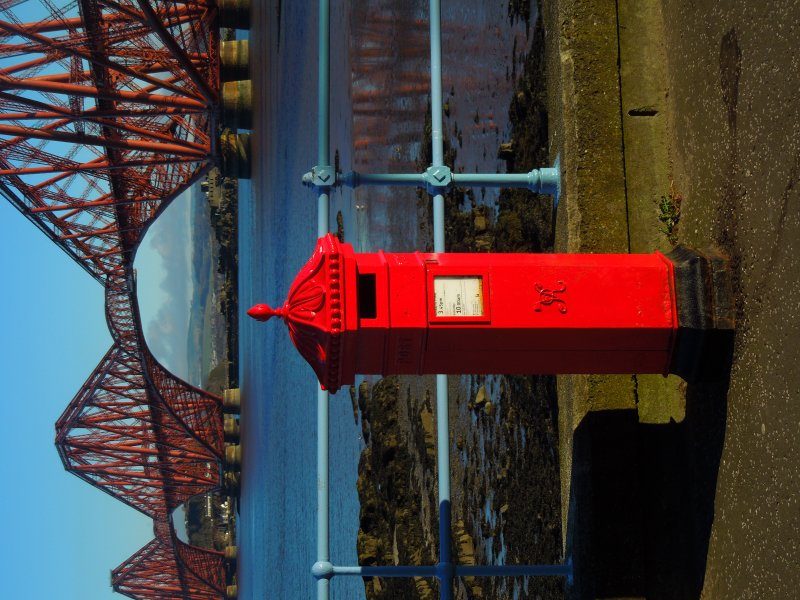 SQF post box with Forth Bridge behind 2016