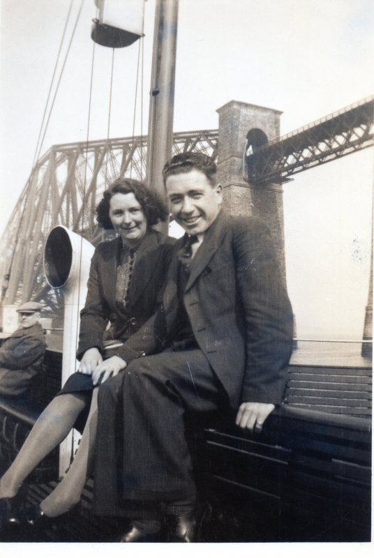 People on the Queensferry in front of Forth Bridge
