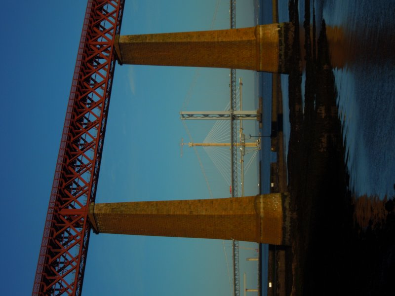 Forth Bridge foreground two road bridges behind