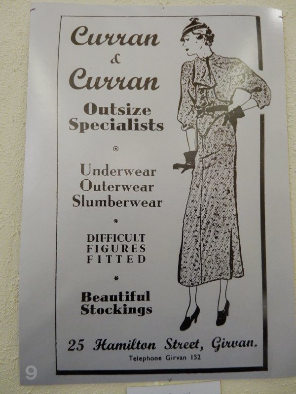 Advert for Curran & Curran, Outsize Specialists, 25 Hamilton Street, Girvan (1940s?)
