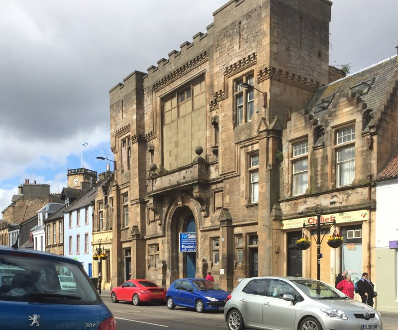 Image of Victoria Hall taken in April, 2017 from the southern side of the high street facing north towards the façade.