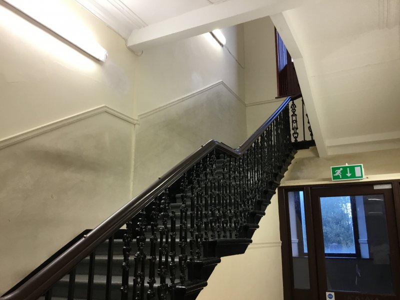 Stairwells and railings in the Old Building. This photo was taken by Dylan Masson, S2 pupil at Kilmarnock Academy.