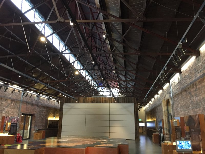 The interior - exhibition space - of the Engine Shed, Stirling.
